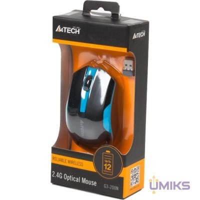Мышь A4Tech G3-200N Black+Blue