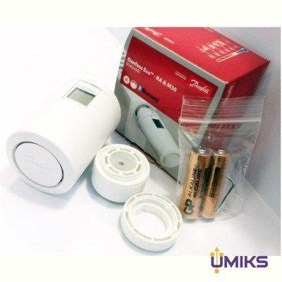 Умная термоголовка Danfoss Eco, Bluetooth, резьба М30 х 1.5, 2 x AA, 3V, белая (014G1001)